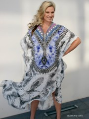 My Darling Jeannie - Heaven & Earth Long Lace-up Silk Kaftan