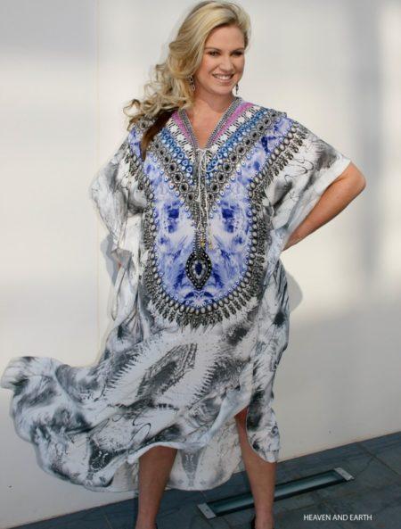 My Darling Jeannie - Heaven & Earth Long Lace-up Silk Kaftan