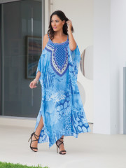 My Darling Jeannie - Marine Reflections Silk Spaghetti Strap Kaftan