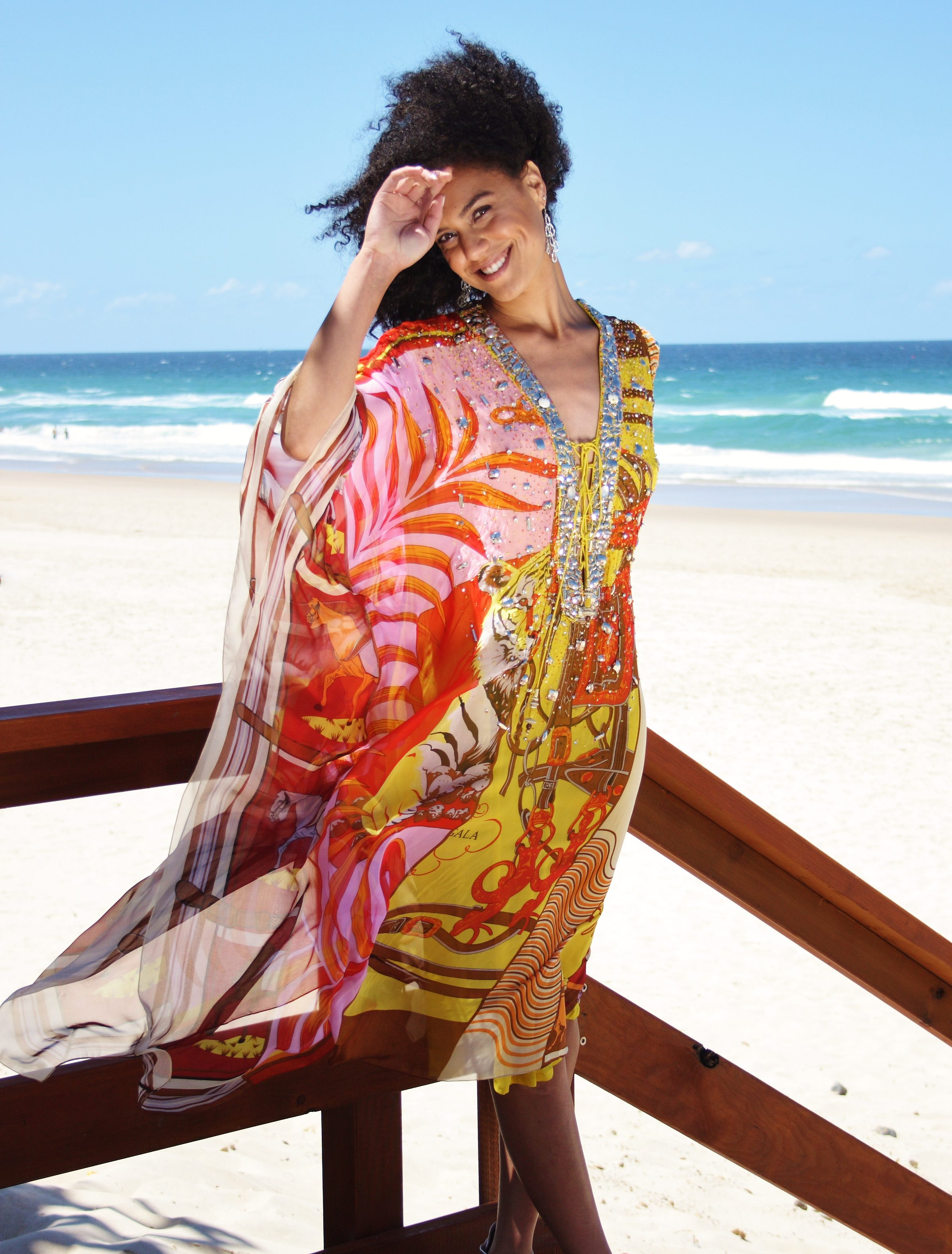 d927bf2a9ed92 Sunset Surprise Silk Kaftan - My Darling Jeannie