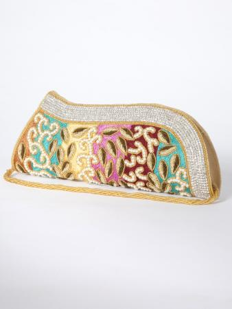 Sabrang Clutch Purse - Exotic tapestry of multi colours with intricate fine needle work - My Darling Jeannie