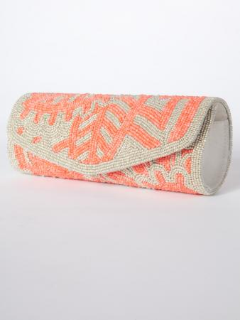 Nalika Clutch Purses - Coral and soft silver cylindrical shaped clutch that sits comfortably in your hand - My Darling Jeannie