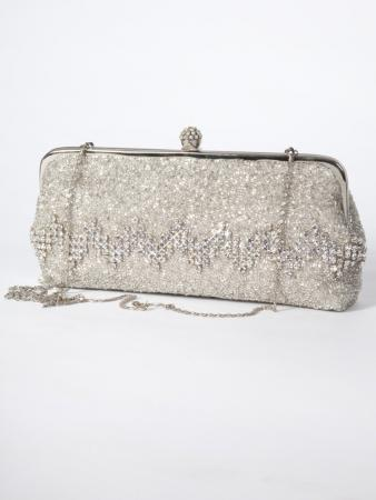 Navriti Clutch Purse - fully beaded in silver with striking diamantes featuring on the front - My Darling Jeannie