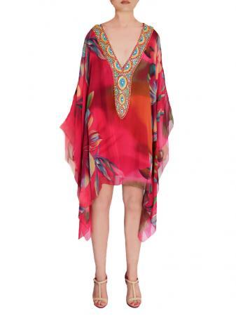 Tropical Dreams Silk Kaftan 36 inch front