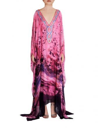 Magenta Silk Gown front