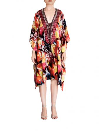 Flame Silk Kaftan 40 inches front